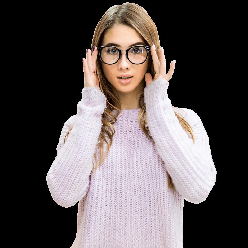 Quantum - Jonge vrouw met modieuze bril
